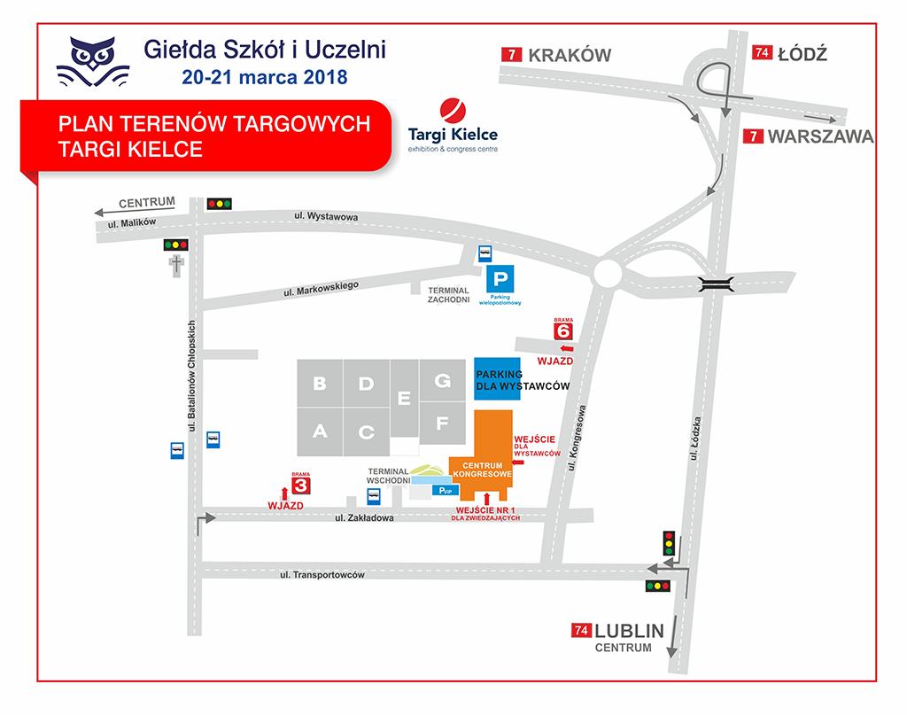 Giełda Szkół 2018 - mapka