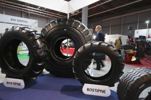 A gigantic tyre displayed at Boma' expo stand