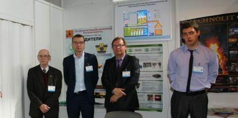 Część delegacji białoruskich przedsiębiorców na swoim stoisku podczas Targów METAL 2016