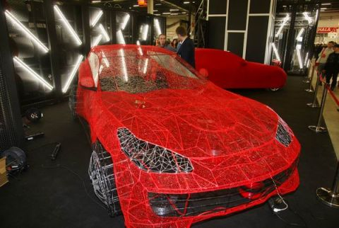Openwork-Ferrari's car-body is on display at the Targi Kielce's 3D Printing Days held within the scope of the in  Targi Kielce's Industrial Spring