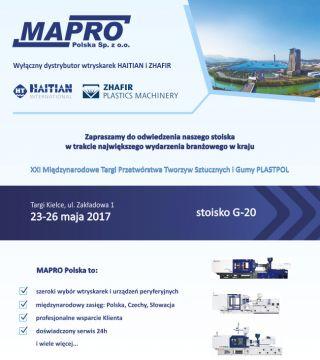 Dodatkowo na stoisku firmy Mapro Polska podczas Plastpol 2017 będzie można zobaczyć i ocenić pozostały osprzęt: młynki stanowiskowe, taśmociągi oraz regulatory grzanych kanałów