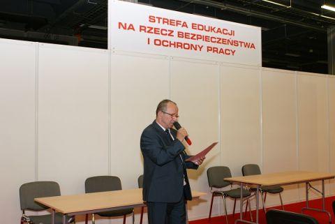 Stanisław Golmento z Okręgowego Inspektoratu Pracy w Kielcach, prowadzący Strefę Edukacji podczas WORK SAFETY-EXPO