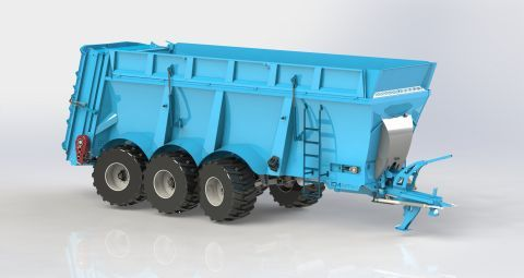 The impressive capacity spreader - of 24.2 m3 and the 20 tons load capacity has been equipped with  hydr-tridem suspension