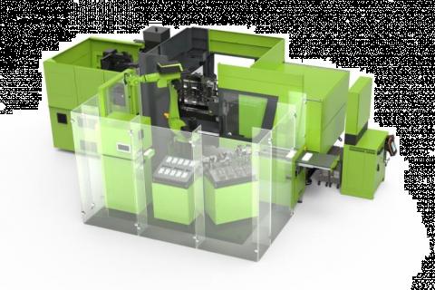 W pełni zautomatyzowany system zmiany produkcji jest zintegrowany na bardzo niewielkiej powierzchni: wtryskarka, robot przegubowy, bazą chwytaków i wkładów do formy, drukarka laserowa, instalacja montażowa i system przenoszenia.