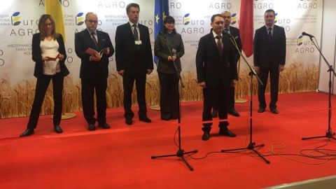 The Lviv Pivdennyi Expo houses agricultural machines put on show at the EuroAgro Lviv