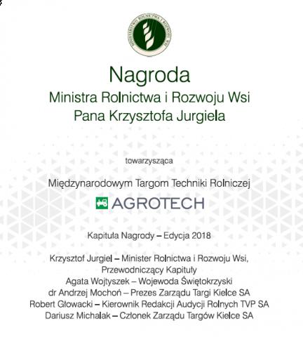 agrotech 2018 - nagroda ministra rolnictwa i rozwoju wsi